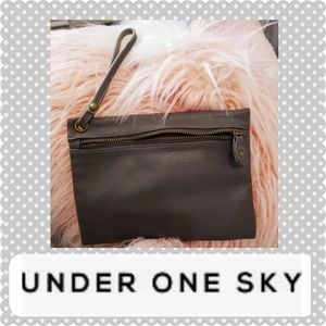 Under One Sky Wristlet  Gray  leather Bag